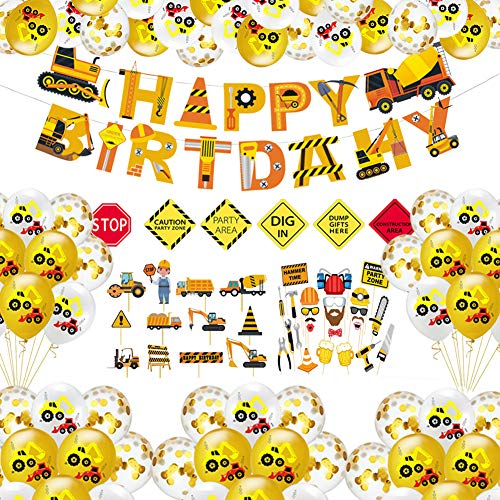 Construction Birthday Party Decorations Construction Party Supplies Set Construction Party Balloons, Dump Truck Cupcake Toppers, Birthday Banner, Construction Signs and Photo Props