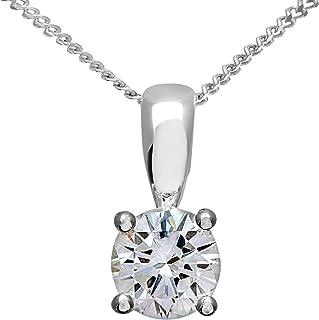Collar y Colgante para Mujer de Oro Blanco 18K con Diamante