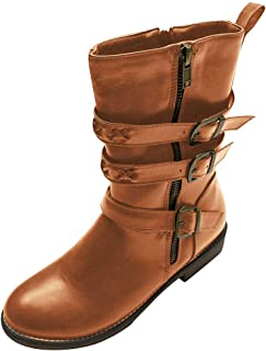 Women's Retro Buckle Cowboy Boot, Ladies Fashion Low-Heeled Leather Knigh Boot Casual Pointed-Toe Mid-Tube Bootie