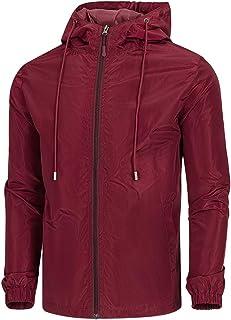 WULFUL Men's Lightweight Windbreaker Jacket Waterproof Hooded Outdoor Jackets Casual Outwear