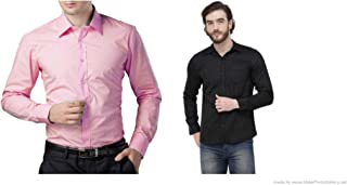 ZAKOD Combo of Plain and Polka Print Cotton Shirts for Men's Wear,Casual Wear Shirts,Available Sizes M=38,L=40,XL=42,100% Pure Cotton Shirts(Combo of 2)