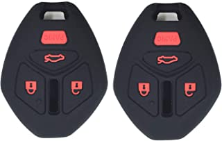 Ezzy Auto A Pair Black Silicone Rubber with Red Buttons Key Fob Case Key Covers Key Jacket Skin Protectors fit for Mitsubishi Eclipse Endeavor Galant Lancer Outlander