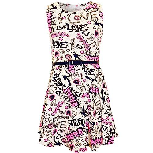 Kids Girls Love Comic Graffiti Print Legging Skater MIDI Dress Crop TOP...