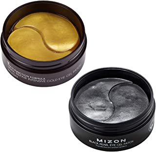 Mizon Snail Repair Intensive Gold Eye Gel Patch & Black Pearl Eye Gel Patch, Under Eye Collagen Patches Eye Masks with Gol...