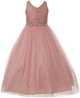 ed4dc35f4 My Best Kids Little Girls Dusty Rose Lace Tulle Glitter V-Neck Flower Girl  Dress