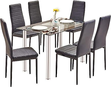 Sedie Per Tavolo In Cristallo.Amazon It Tavolo Vetro Sedie Sala Da Pranzo Casa E Cucina