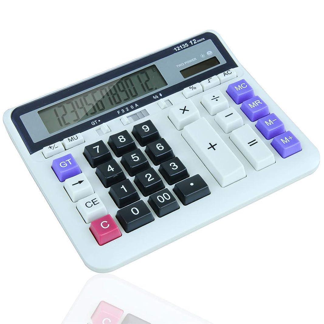 作詞家ほうきページェント多機能 竹製電卓 ソーラーバッテリーデュアルパワーオフィス電卓、12桁ソーラーバッテリーの基本的な電卓、大型液晶ディスプレイと大きなボタン付き