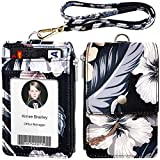 ELV Badge Holder with Zipper, ID Badge Card Holder Wallet with 5 Card Slots, 1 Side RFID Blocking Pocket and 20 inch Neck Lanyard Strap for Offices ID, School ID, Driver Licence