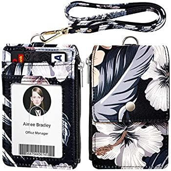 ELV Badge Holder with Zipper ID Badge Card Holder Wallet with 5 Card Slots 1 Side RFID Blocking Pocket and 20 inch Neck Lanyard Strap for Offices ID School ID Driver Licence