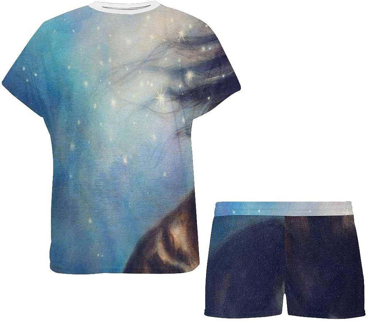 INTERESTPRINT Black Unicorn Dancing in Space Painting Women Sleepwear Short Sleeves Pajama Sets