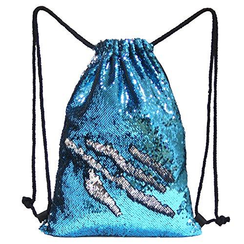 Beinou Meerjungfrau Pailletten Tasche Magie Reversible Pailletten Kordelzug Rucksäcke glitzernden Umhängetasche Sport Draussen Rucksack Taschen Shinning Tanztasche (35x45cm)