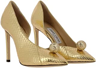 JIMMY CHOO Ladies High Pump Gold/Gold 100 Sadira Met Elaph Heels