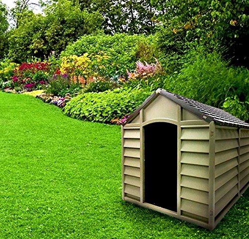 Hundehütte für große / mittelgroße Hunde, aus PVC-Harz, mit Schrägdach, für draußen / für den Garten, zerlegbar, 78x 84x 80 cm,beige/braun