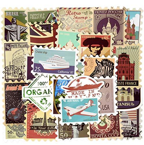 50 Stks Retro Stempel Sticker Reisgeschiedenis Bouwen Postmark Diy Bagage Laptop Computer Koffer Gitaar Koelkast Sticker