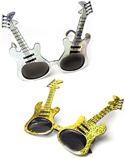 Fun Central 12 Pieces - Glitter Guitar Sunglasses in Bulk - Rock 'n Roll Party Favors for Kids and Adults