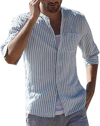 CAOQAO Camisas Hombre Tres Cuartos Camisa a Rayas de Mezcla ...