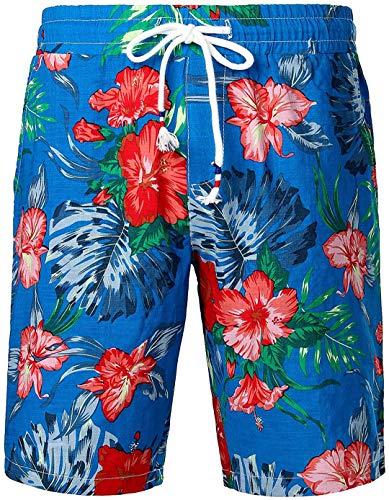 MJDSVWCS Pantalones Cortos de Playa Hawaianos Casuales con Flores de Playa 3D para Hombre flower5 M