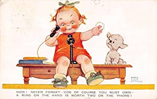 Little girl on phone with puppy by Mabel Lucie Attwell antique pc Z23971