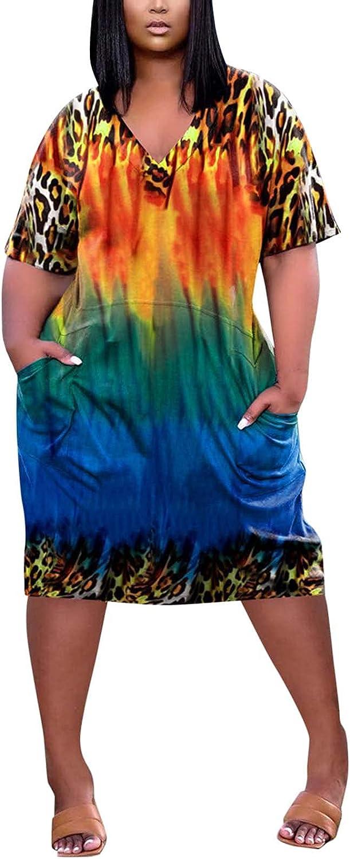 ORT Sundresses for Women Tie-Dye Printing V Neck Summer Dresses Short Sleeve Casual Plus Size Dress Shirt Dress with Pockets
