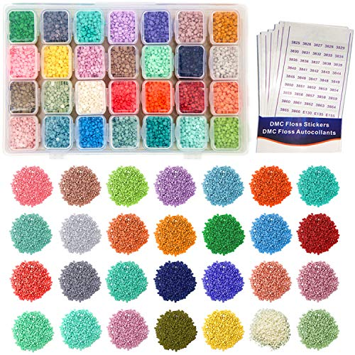 36 Colors Diamond Painting Accessories Replacement Round Diamonds with Adjustable 36 Grids Diamond Storage Boxes and 617 Pieces Marker Label for Missing Drills of 5D Diamond Painting Kits