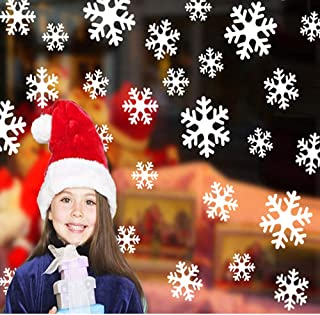 HONGKIDS Snowflakes Window Clings, Winter Stickers, Different Size and Design Snowflake Decorations for Window Decals Home Shop (Snowflake)
