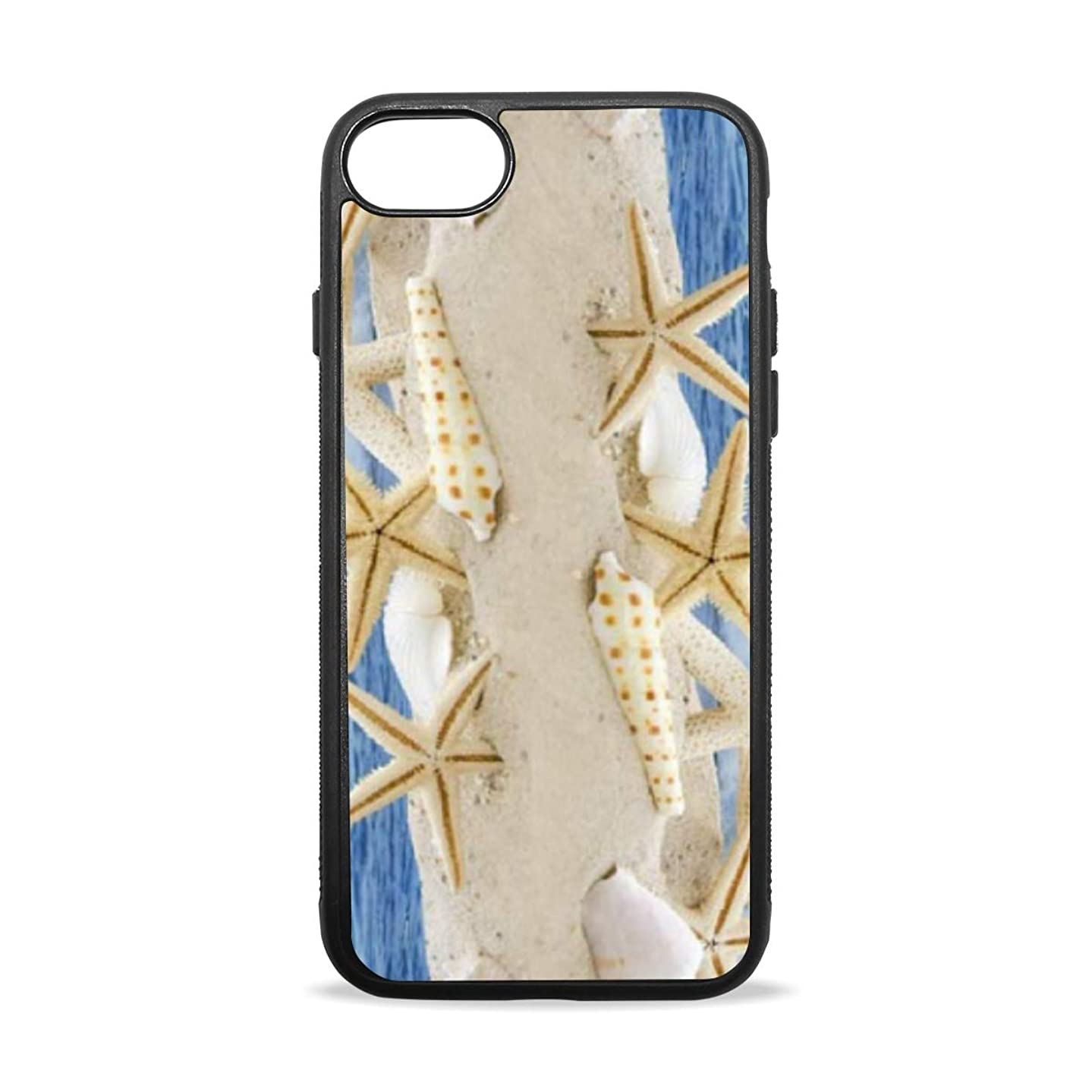 Apple Case Shockproof Slim TPU Protective Cover Seashells Starfish Wood On The Beach Soft Rubber Silicone Cover Phone Case Compatible with iPhone 7/8 iPhone 7/8 Plus [4.7 inch/5.5 inch]