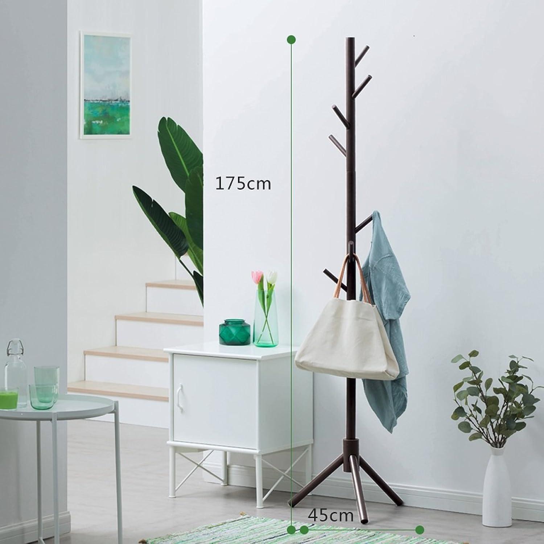 GFL Solid Wood Coat Rack for Clothes Stand Hat Handbag H175cmW45cm (color   Coffee)