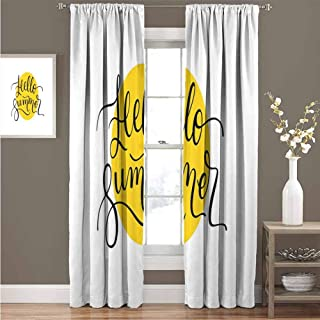 HouseLook Hello Summer Noise Reducing Window Drapes Abstract Retro Style Lettering in Black Font Across a Round Shape in Yellow Solid Blackout Drapes for Living Room W120 x L97 Inch Mustard Black