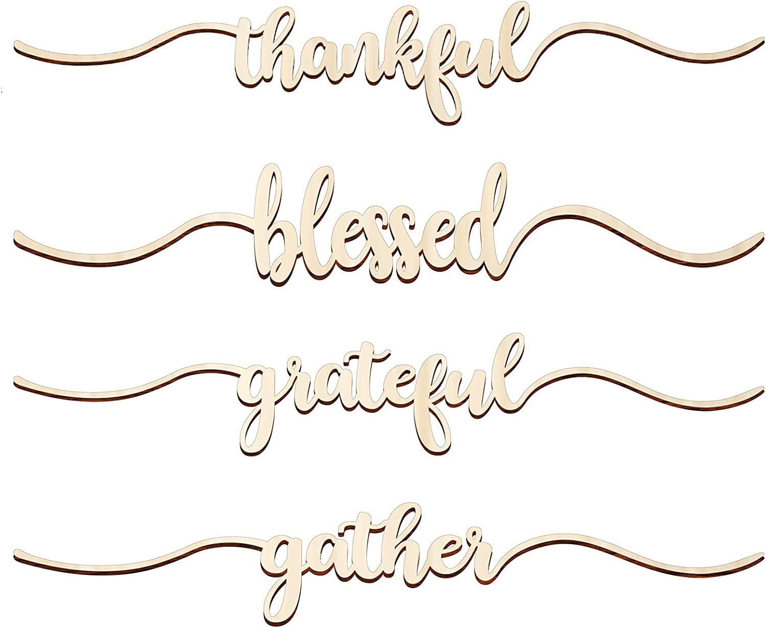 Jetec 8 Pieces Thanksgiving Wood Cutout Cards Sign Thankful Grateful Blessed Gather Wood Word Table Decorations Unfinished Rustic Wood Decor Thanksgiving Wall Decoration, 2 x 9.8 Inch (Wood Color)