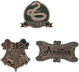 HARRY POTTER Slytherin Label Pin Costume Set | House Words Ambition, Hogwarts Crest, House Animal Snake
