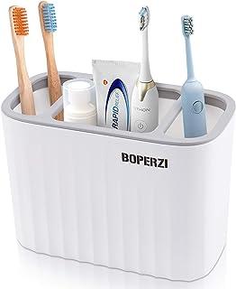 Boperzi Toothbrush Holder Toothpaste Storage 3 Slots,White Electric Toothbrush Organizer Razor Makeup Brushes Stand Set An...