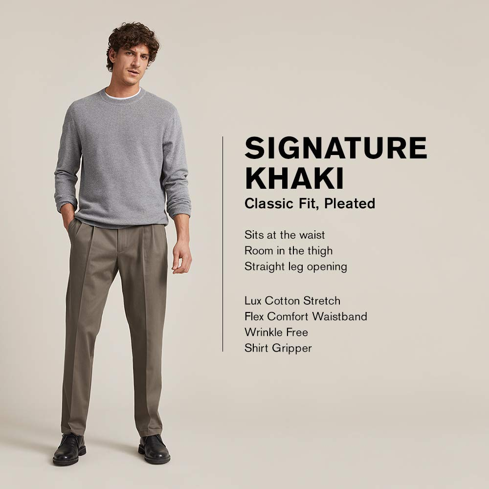 Men's Classic Fit Signature Khaki Lux Cotton Stretch Pants - Pleated (Regular and Big & Tall)