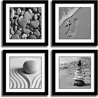 4 Panels Romantic Beach Theme Landscape Artwork Sea Beach Ocean Canvas Prints Contemporary Abstract Seascape Pictures Paintings on Canvas Wall Art for Home Decorations (Black 01, 12x12inchx4pcs)