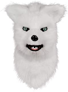 molezu Movable Mouth Fox Mask, Costume Cosplay Mouth Mover Wolf Masks, Plush Faux Fur Suit for Halloween Party