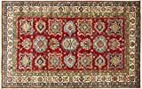 Alfombra afgana Kazak fina, 170 x 240 cm, hecha a mano, color rojo