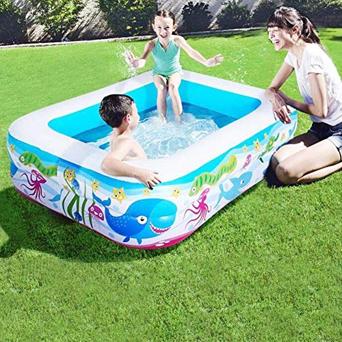 FENGLI Aufblasbares Schwimmbad, Familien-Schwimmzentrum, dicker, sicherer Planschbecken, rechteckig, Sommer-Wasserparty-Zubehör für Babys, Kinder und Erwachsene (Farbe: 180 x 145 x 60 cm)