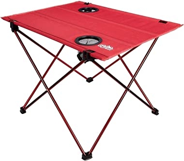Portable Picnic and Camping Table – Collapsible Accordion Aluminum Frame, Washable Cloth Table Top with Two Cup Holders - Dra