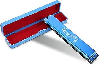 Venta de liquidación Armónica 24 Agujeros con Placa Inoxidable con Clave C Trémolo Armónica para Profesionales/Principiantes Por Afuaim (Azul)