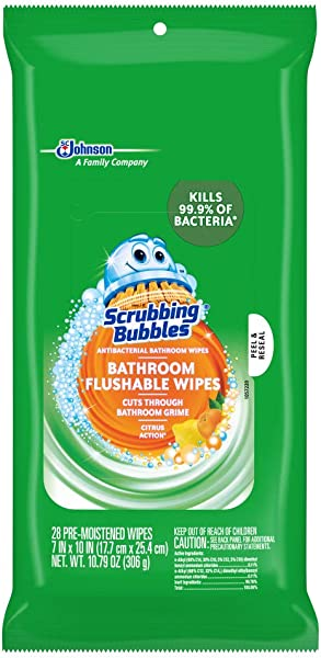 Scrubbing Bubbles Antibacterial Bathroom Flushable Wipes Citrus Action 28 Count