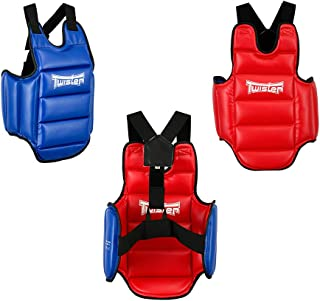 Twister Karate, Taekwondo Reversible Chest Guard Protector for Karate Taekwondo Boxing Muay Thai (RED/Blue)