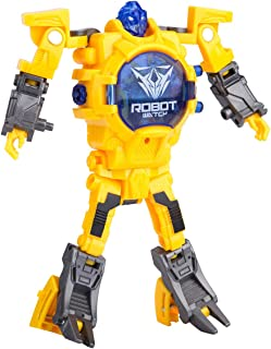 Robot Watch for Kids, Digital Deformed Electronic Robot Watch Toys for Boys, 2 in 1 Deformation Robot Wrist Watch Toys for 3, 4, 5 - 10 Years Old Boys or Girls ( Yellow )