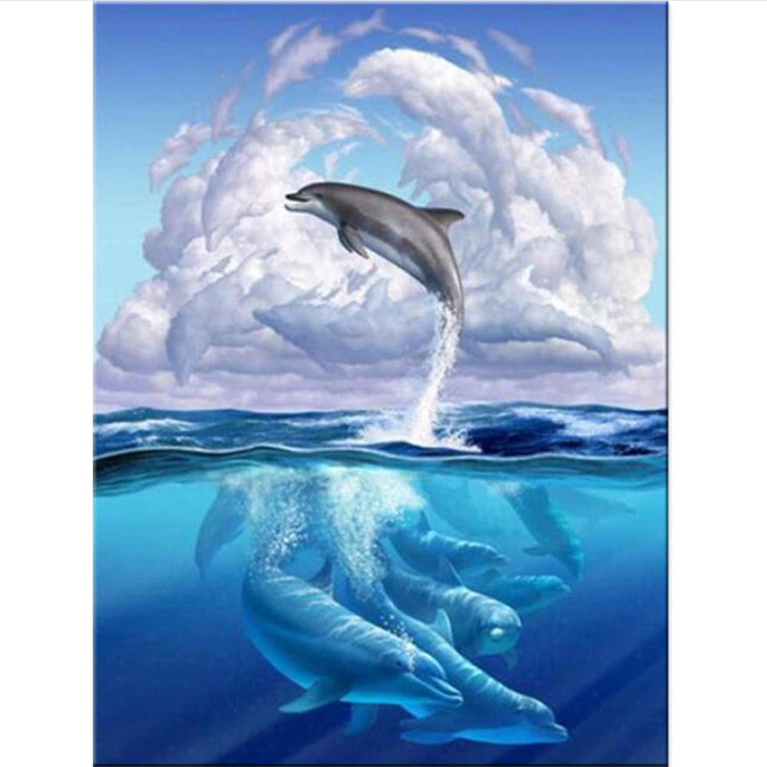 100% 5D DIY Diamond Painting Dolphins and Clouds 3D Paintings Round Rhinestones Diamant Painting Animals Embroidery,45x60cm