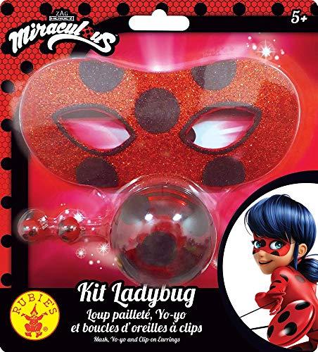 Rubie's, kit di accessori ufficiali lupo glitterato + yoyo + orecchini Miraculous Ladybug-I-300295, per travestimenti, bambini, unisex, I-300295, multicolore