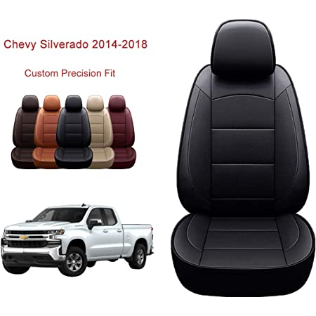 OASIS AUTO Custom Fit PU Leather Seat Cover Compatible with GMC Sierra /& Silverado 1500 2014 2015 2016 2017 2018 Crew Double Super Cab 40//60 Split on Second Row|