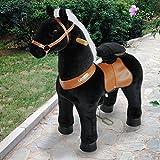 PonyCycle offiziell Reiten auf Pferd gehendes Tier Plüschtier fahrbar Keine Batterie Keinen Strom mechanisch schwarz klein für Alter 3-5 Kind/Baby
