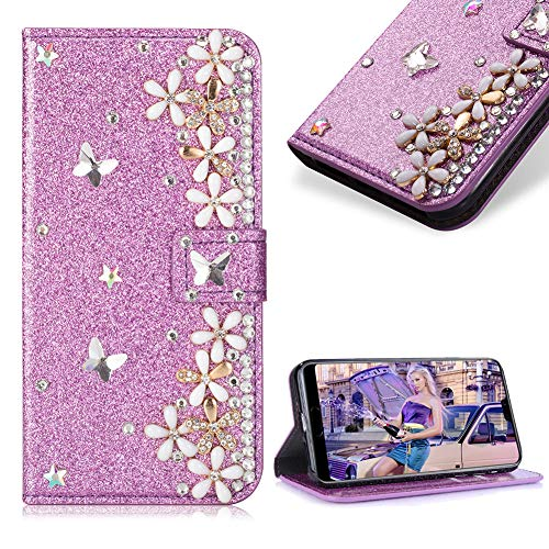 Case for Huawei P20 Lite,Cistor Luxury 3D Handmade Diamond Crystal Pearl Glitter Flower Butterfly Wallet Case for Huawei P20 Lite,PU Leather Stand Flip Case with Card Slot Magnetic Closure,Purple