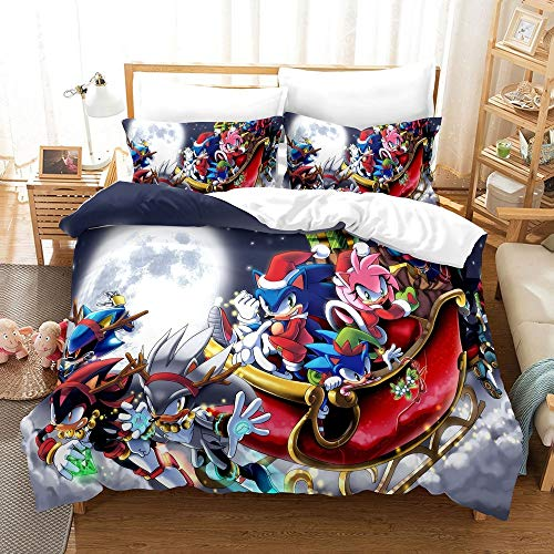 Cartoon Sonic Single Duvet Cover 3D Anime Cartoon Sonic The Hedgehog Kids Bedding Set 2 Pieces Include 1 Duvet Cover & 1 Pillowcases, Soft and Comfortable Bedding for Kids (SN05,Single 135x200cm)
