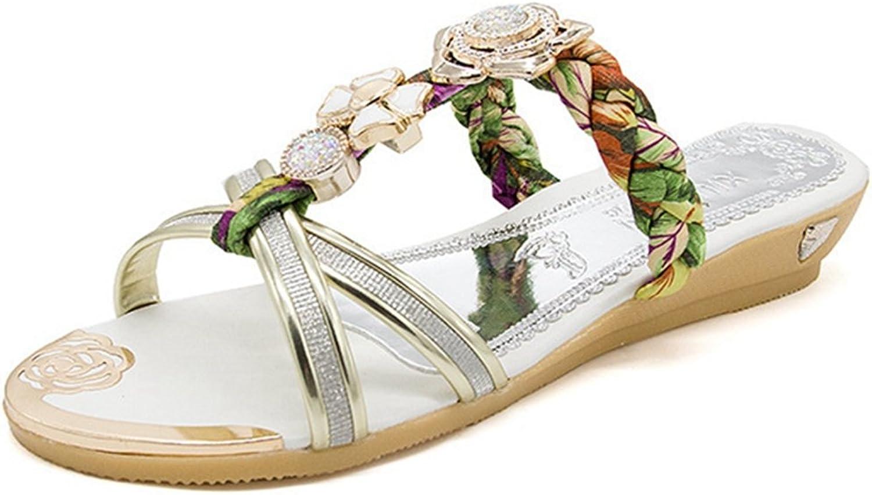 GIY Women Rhinestone Slide Flat Sandals Anti-Slip Open Toe Summer Beach Low Heel Walking Sandals