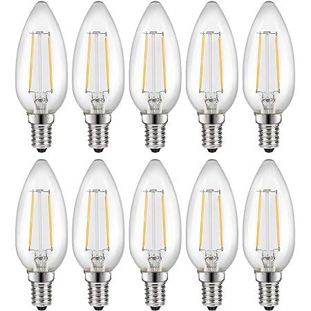 10 x LED Filament Leuchtmittel B35 Kerze 2,1W = 25W E14 klar warmweiß 2700K