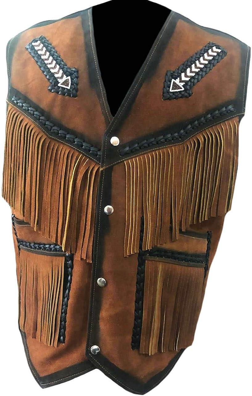 SleekHides Men's Suede Leather Western Arrow Vest with Fringes & Beads